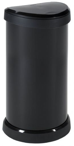 Large Black Kitchen Curver Deco Bin 40L Litre Metal Effect One Touch Top Bins